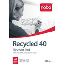 Nobo Recycled Flipchart Pad Perforated 100gsm 40 Sheets A1 Plain Ref 34631178 [Pack 5]