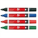 5 Star Office Flipchart Marker Bullet Tip Water-based 2mm Line Wallet Assorted Colours [Pack 4]