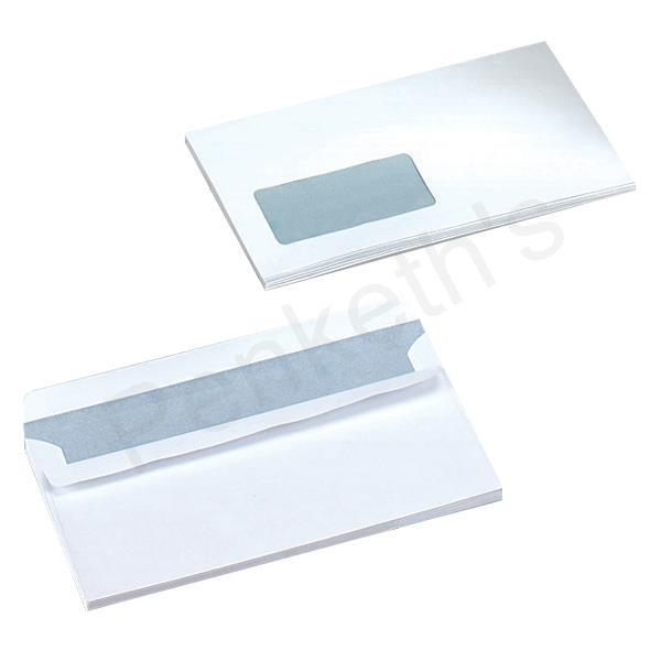 5 Star Envelopes Wallet Press Seal Window 80gsm White DL [Pack 1000]