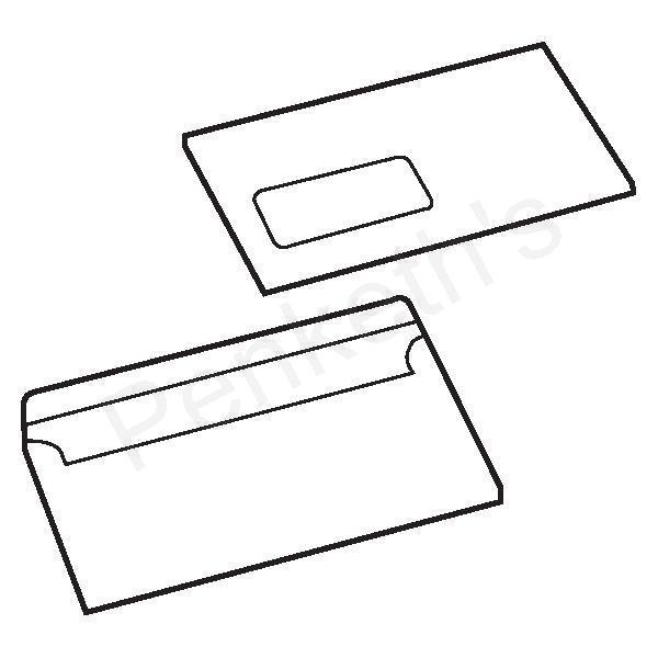 White Box Envelope Press Seal Window Wallet DL White [Pack 1000]