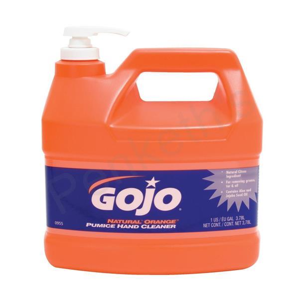 Gojo Natural Orange Hand Cleaner Grease-removing with Pumice Particles and Aloe 3.78Litre Ref N06298