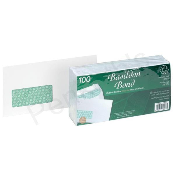 Basildon Bond Envelopes Recycled Wallet Window Peel and Seal 100gsm DL White Ref D80276 [Pack 100]