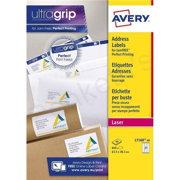 40 Labels Avery Addressing Labels Laser Jam-free 1 per Sheet 199.6x289.1mm White Ref L7167-40