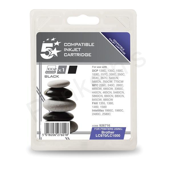 5 Star Compatible Ink Cartridge Black [Brother LC1000 Equivalent]