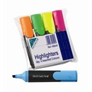 Initiative Assorted Highlighters Wallet, Pk 4
