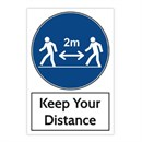 Keep Your Distance BLUE Sticker 200 x 300mm Pack of 3
