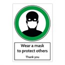 Wear A Mask GREEN Sticker 200 x 300mm Pack of 3