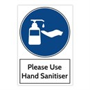 Hand Sanitiser Sticker BLUE 200 x 300mm Pack of 3