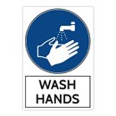 Wash Hands BLUE Sticker 200 x 300mm Pack of 3