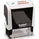 Trodat Office Printy Stamp Self-inking Private & Confidential 18x46 Reinkable Red and Blue
