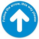 Follow The Arrow Floor Marker BLUE Sticker 400 x 400mm