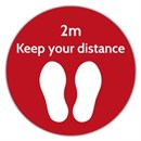 2M Distance Floor Marker RED Sticker 400 x 400mm