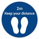 2M Distance Floor Marker BLUE Sticker 400 x 400mm