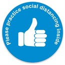 Please Practice Social Distance Floor Marker BLUE Sticker 400 x 400mm